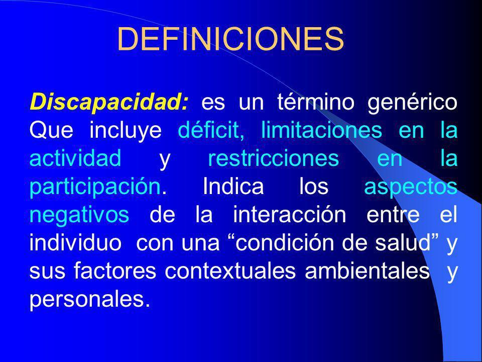 DEFINICIONES Discapacidad: es un término genérico Que incluye déficit, limitaciones en la actividad y restricciones en la participación.