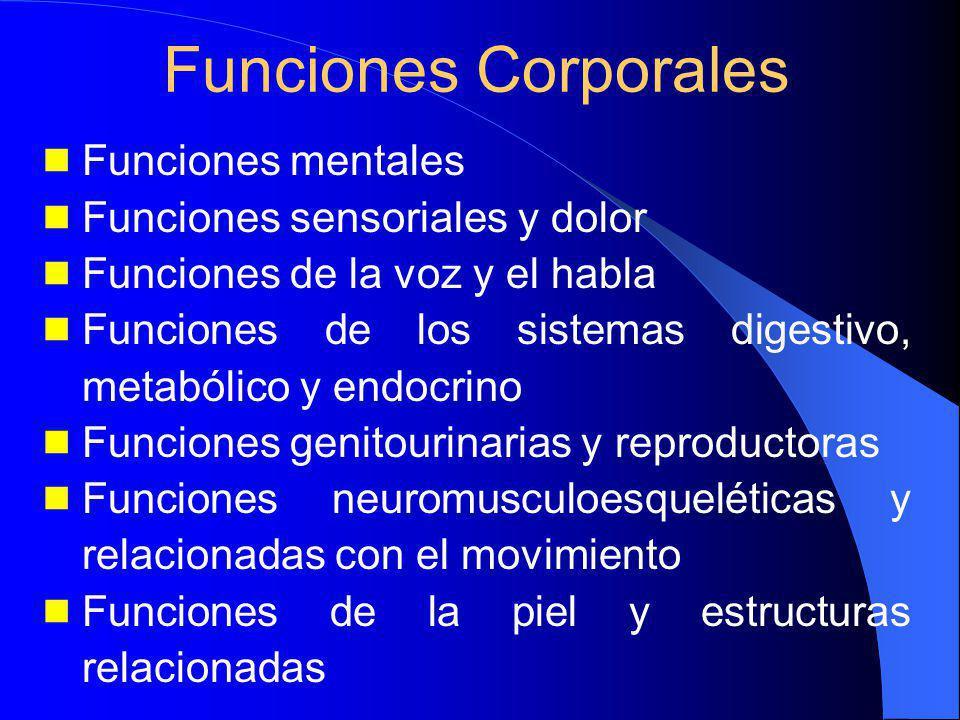 Funciones mentales Funciones sensoriales y dolor Funciones de la voz y el habla Funciones de los sistemas digestivo, metabólico y endocrino Funciones genitourinarias y reproductoras Funciones neuromusculoesqueléticas y relacionadas con el movimiento Funciones de la piel y estructuras relacionadas Funciones Corporales