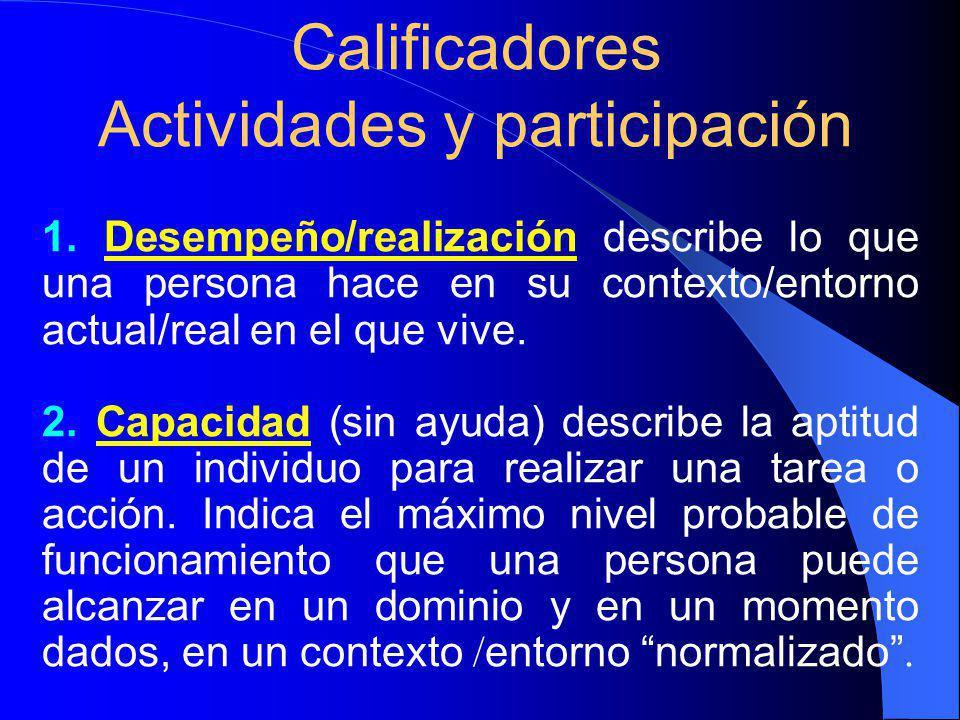 Calificadores Actividades y participación 1.