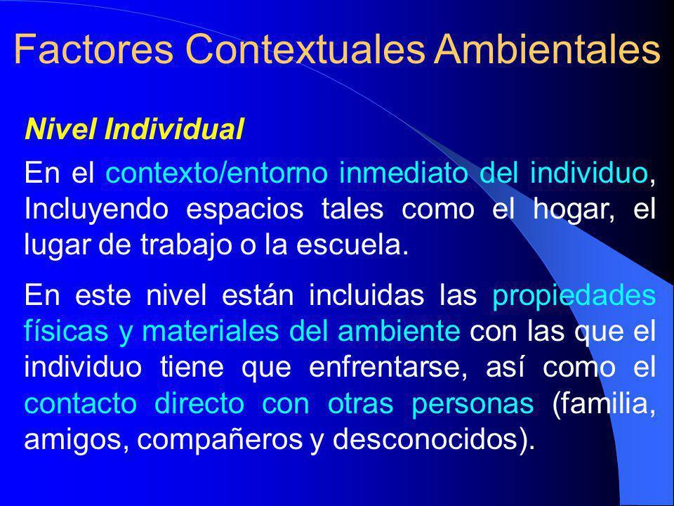 Nivel Individual En el contexto/entorno inmediato del individuo, Incluyendo espacios tales como el hogar, el lugar de trabajo o la escuela.