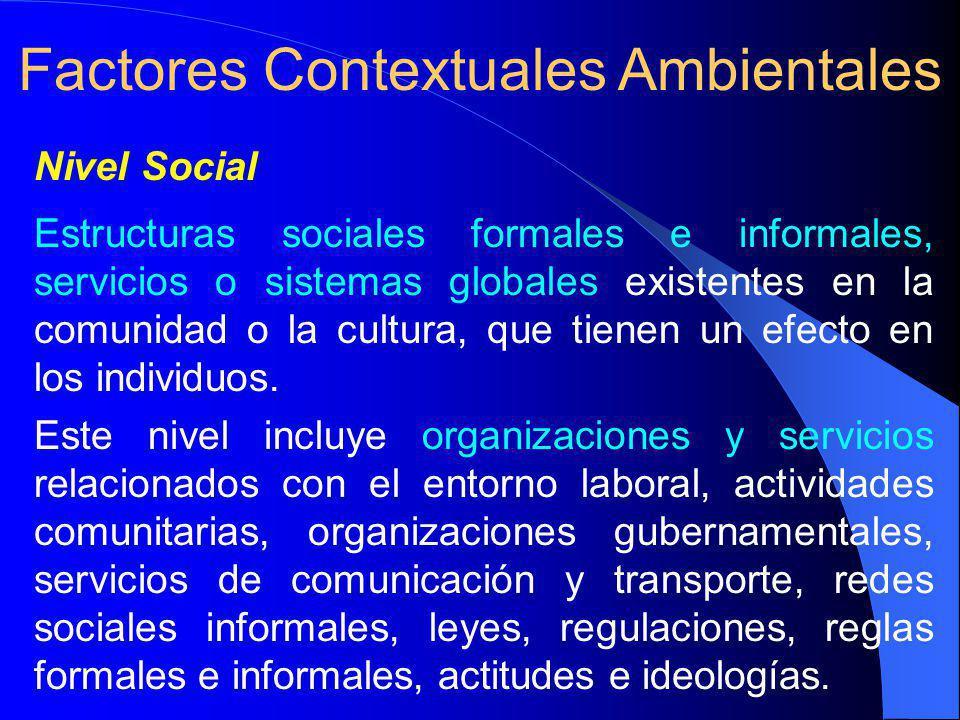 Nivel Social Estructuras sociales formales e informales, servicios o sistemas globales existentes en la comunidad o la cultura, que tienen un efecto en los individuos.