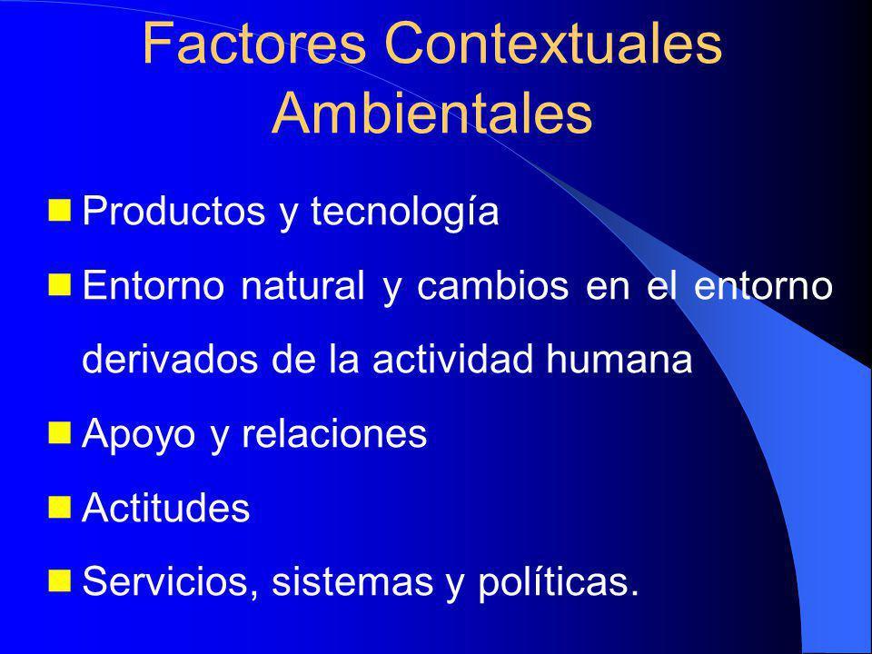 Productos y tecnología Entorno natural y cambios en el entorno derivados de la actividad humana Apoyo y relaciones Actitudes Servicios, sistemas y políticas.