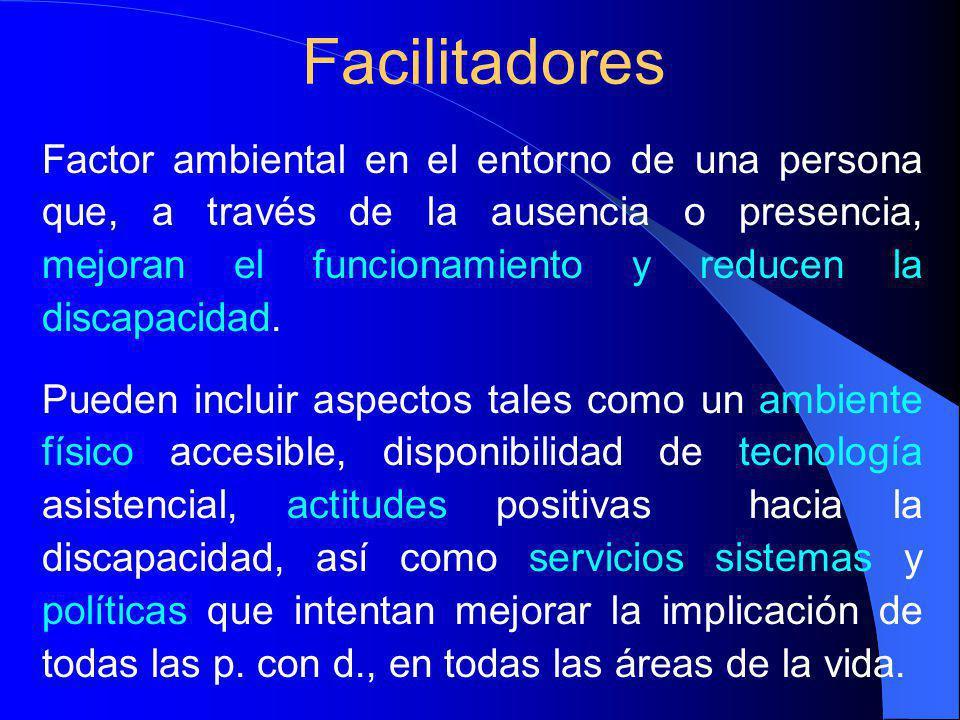 Factor ambiental en el entorno de una persona que, a través de la ausencia o presencia, mejoran el funcionamiento y reducen la discapacidad.
