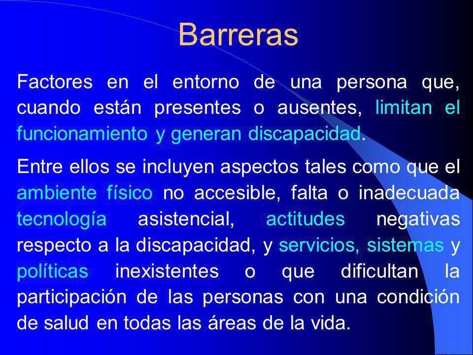 Factores en el entorno de una persona que, cuando están presentes o ausentes, limitan el funcionamiento y generan discapacidad.