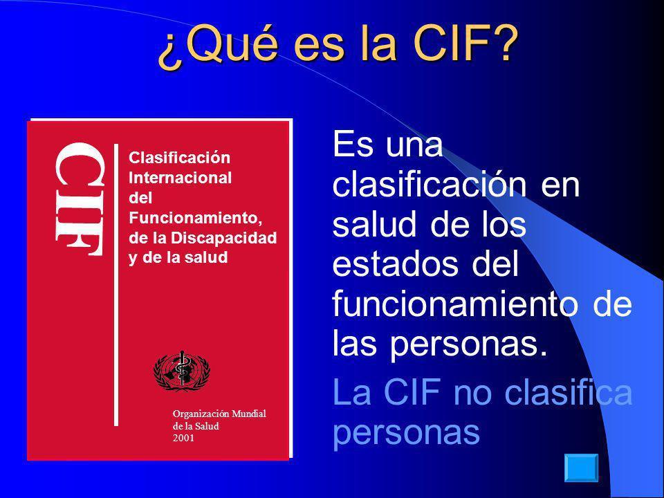 ¿Qué es la CIF.Es una clasificación en salud de los estados del funcionamiento de las personas.