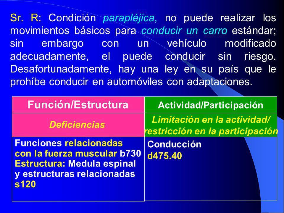 Sr. R: Condición parapléjica, no puede realizar los movimientos básicos para conducir un carro estándar; sin embargo con un vehículo modificado adecua