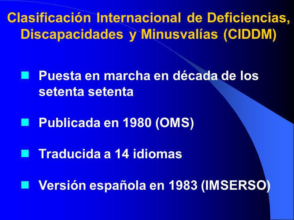 Puesta en marcha en década de los setenta setenta Publicada en 1980 (OMS) Traducida a 14 idiomas Versión española en 1983 (IMSERSO) Clasificación Internacional de Deficiencias, Discapacidades y Minusvalías (CIDDM)