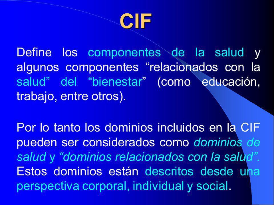 Por lo tanto los dominios incluidos en la CIF pueden ser considerados como dominios de salud y dominios relacionados con la salud.