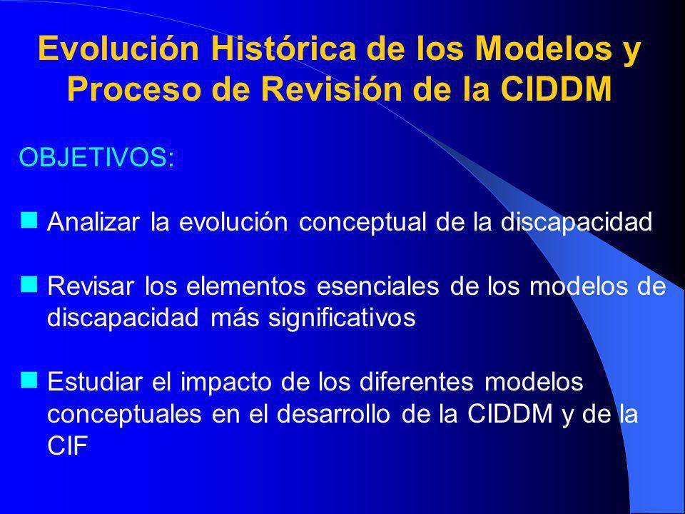 Evolución Histórica de los Modelos y Proceso de Revisión de la CIDDM OBJETIVOS: Analizar la evolución conceptual de la discapacidad Revisar los elementos esenciales de los modelos de discapacidad más significativos Estudiar el impacto de los diferentes modelos conceptuales en el desarrollo de la CIDDM y de la CIF