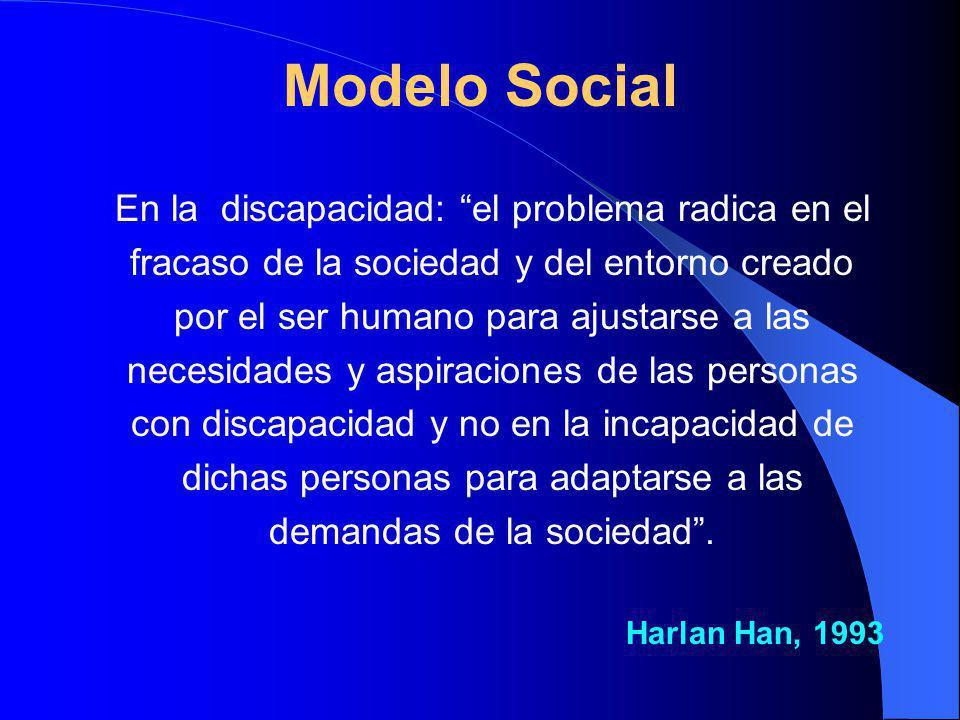 Modelo Social En la discapacidad: el problema radica en el fracaso de la sociedad y del entorno creado por el ser humano para ajustarse a las necesidades y aspiraciones de las personas con discapacidad y no en la incapacidad de dichas personas para adaptarse a las demandas de la sociedad.