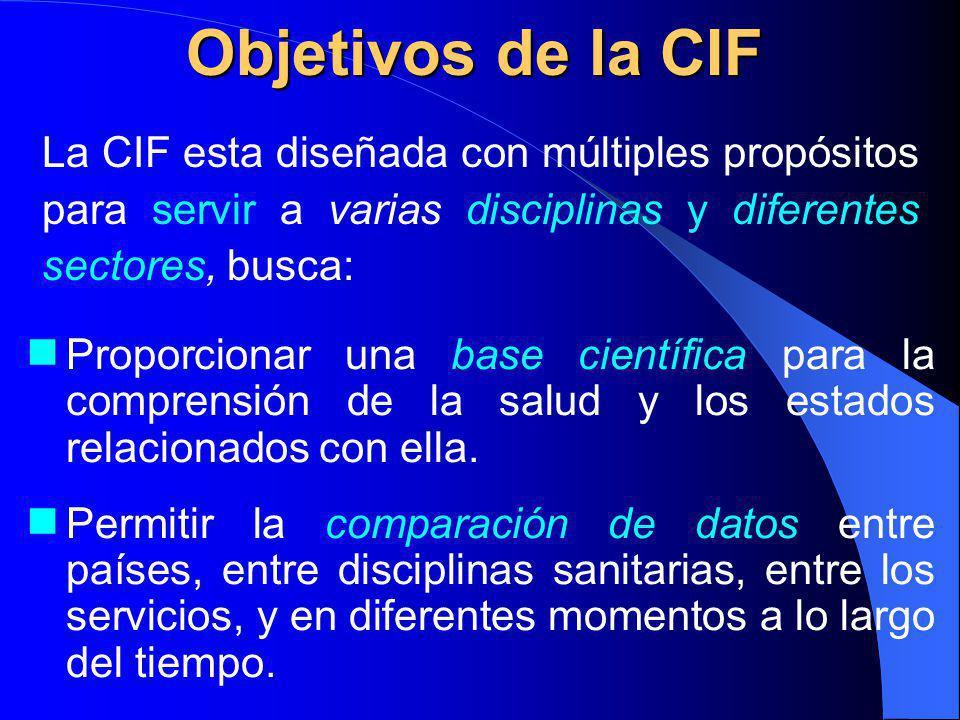 Objetivos de la CIF La CIF esta diseñada con múltiples propósitos para servir a varias disciplinas y diferentes sectores, busca: Proporcionar una base científica para la comprensión de la salud y los estados relacionados con ella.