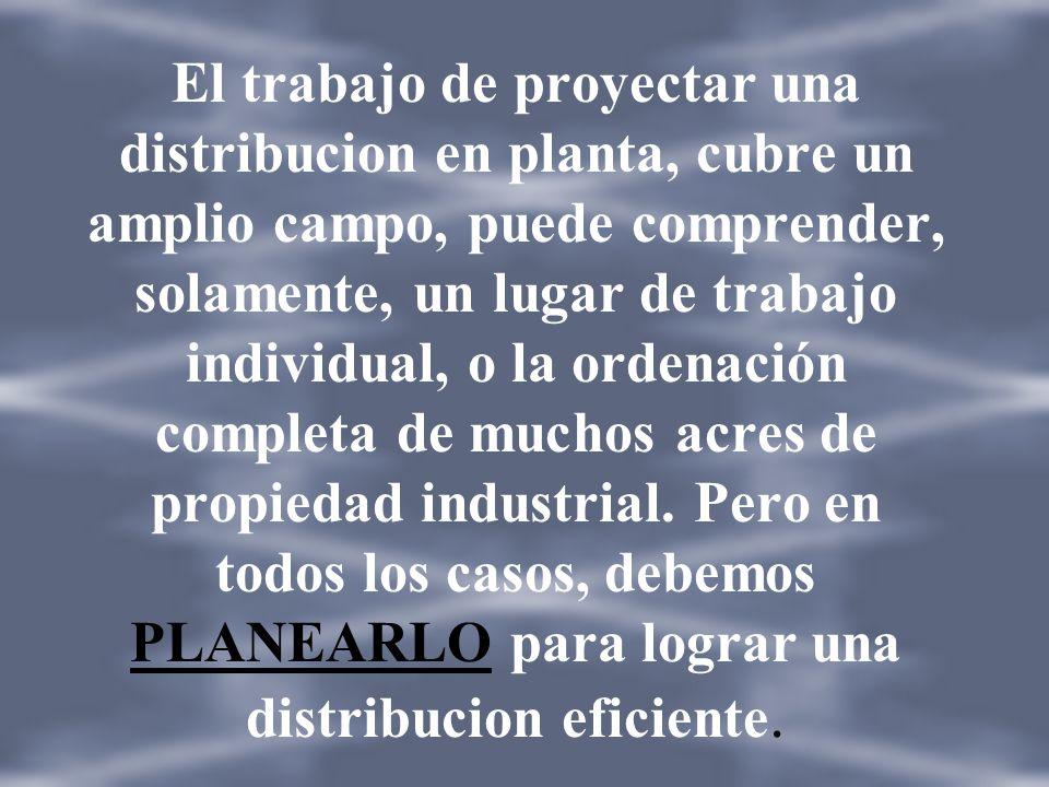 DISTRIBUCION EN PLANTA: (muther) Implica la ordenación física de los elementos industriales. Esta ordenación, ya practicada o en proyecto, incluye, ta