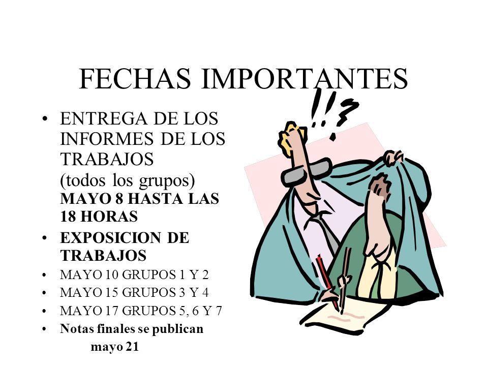 FECHAS IMPORTANTES ENTREGA DE LOS INFORMES DE LOS TRABAJOS (todos los grupos) MAYO 8 HASTA LAS 18 HORAS EXPOSICION DE TRABAJOS MAYO 10 GRUPOS 1 Y 2 MAYO 15 GRUPOS 3 Y 4 MAYO 17 GRUPOS 5, 6 Y 7 Notas finales se publican mayo 21