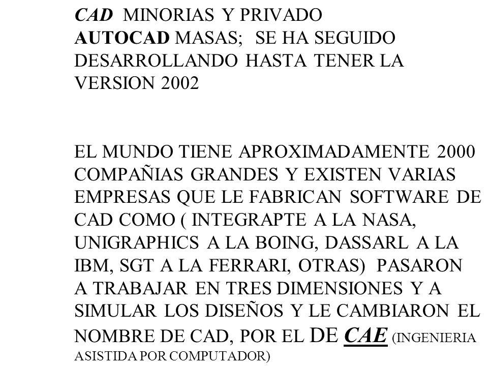 COMPUTADOR APARECE HACIA 1960 AL INICIO ERAN CAROS DIFICIL DE MANEJAR HACIA 1970 EMPRESA PRIVADA SACAN EL CAD ( DISEÑO ASISTIDO POR COMPUTADOR ) ERAN