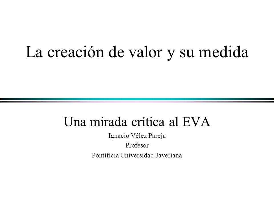 La creación de valor y su medida Una mirada crítica al EVA Ignacio Vélez Pareja Profesor Pontificia Universidad Javeriana
