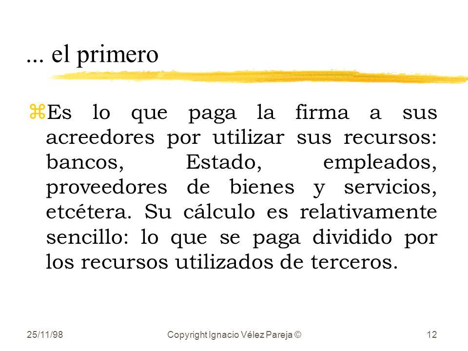 25/11/98Copyright Ignacio Vélez Pareja ©12... el primero zEs lo que paga la firma a sus acreedores por utilizar sus recursos: bancos, Estado, empleado