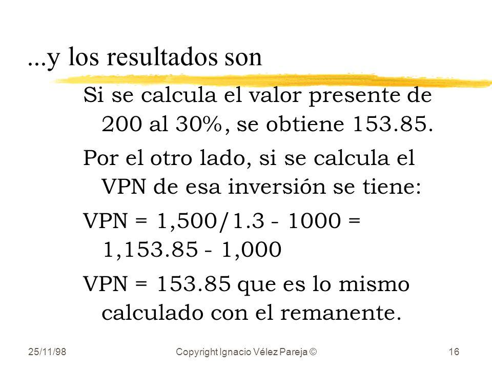 25/11/98Copyright Ignacio Vélez Pareja ©16...y los resultados son Si se calcula el valor presente de 200 al 30%, se obtiene 153.85. Por el otro lado,