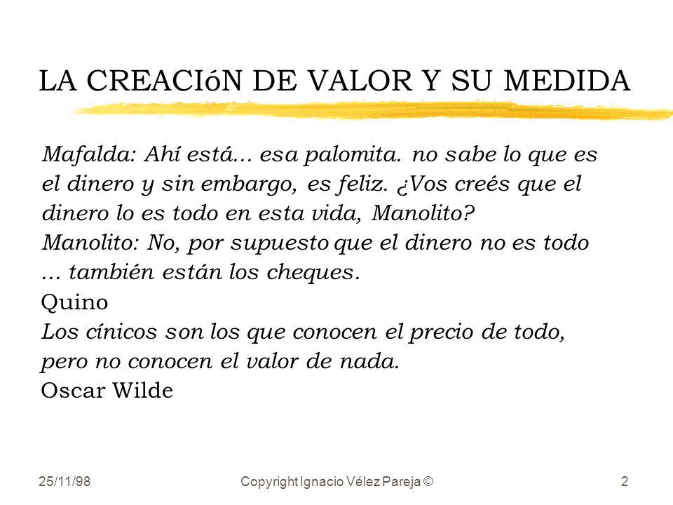 25/11/98Copyright Ignacio Vélez Pareja ©2 LA CREACIóN DE VALOR Y SU MEDIDA Mafalda: Ahí está... esa palomita. no sabe lo que es el dinero y sin embarg