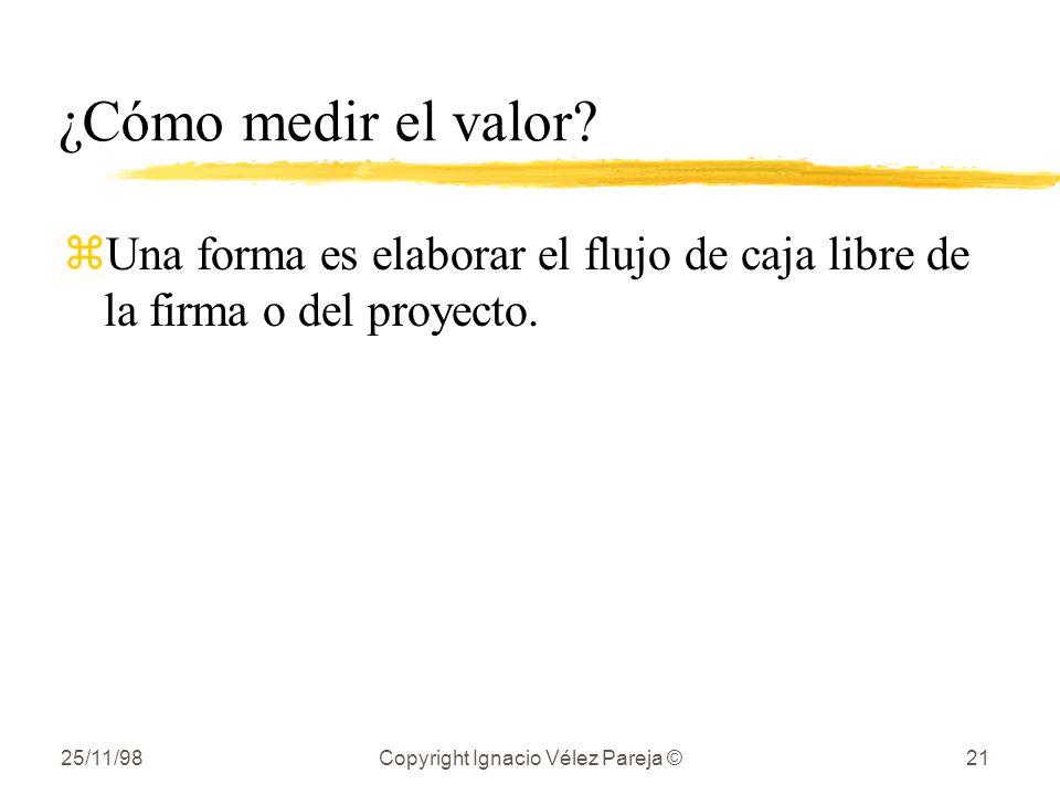 25/11/98Copyright Ignacio Vélez Pareja ©21 ¿Cómo medir el valor? zUna forma es elaborar el flujo de caja libre de la firma o del proyecto.