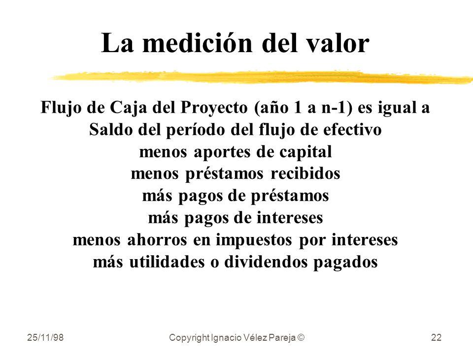 25/11/98Copyright Ignacio Vélez Pareja ©22 La medición del valor Flujo de Caja del Proyecto (año 1 a n-1) es igual a Saldo del período del flujo de ef