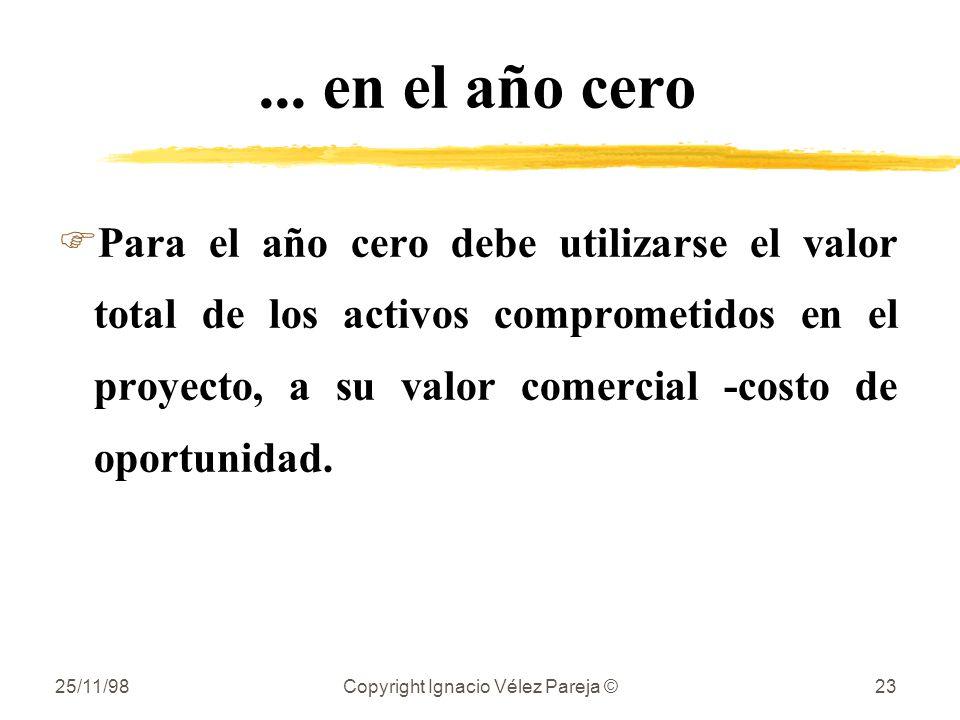 25/11/98Copyright Ignacio Vélez Pareja ©23... en el año cero FPara el año cero debe utilizarse el valor total de los activos comprometidos en el proye