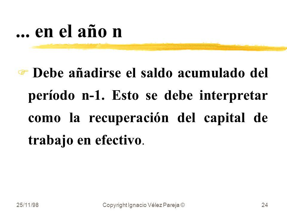 25/11/98Copyright Ignacio Vélez Pareja ©24... en el año n F Debe añadirse el saldo acumulado del período n-1. Esto se debe interpretar como la recuper