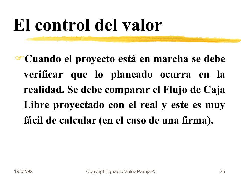 19/02/98Copyright Ignacio Vélez Pareja ©25 El control del valor FCuando el proyecto está en marcha se debe verificar que lo planeado ocurra en la real