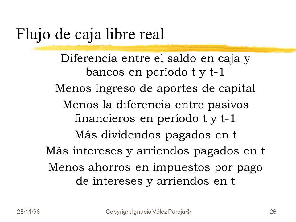 25/11/98Copyright Ignacio Vélez Pareja ©26 Flujo de caja libre real Diferencia entre el saldo en caja y bancos en período t y t-1 Menos ingreso de apo