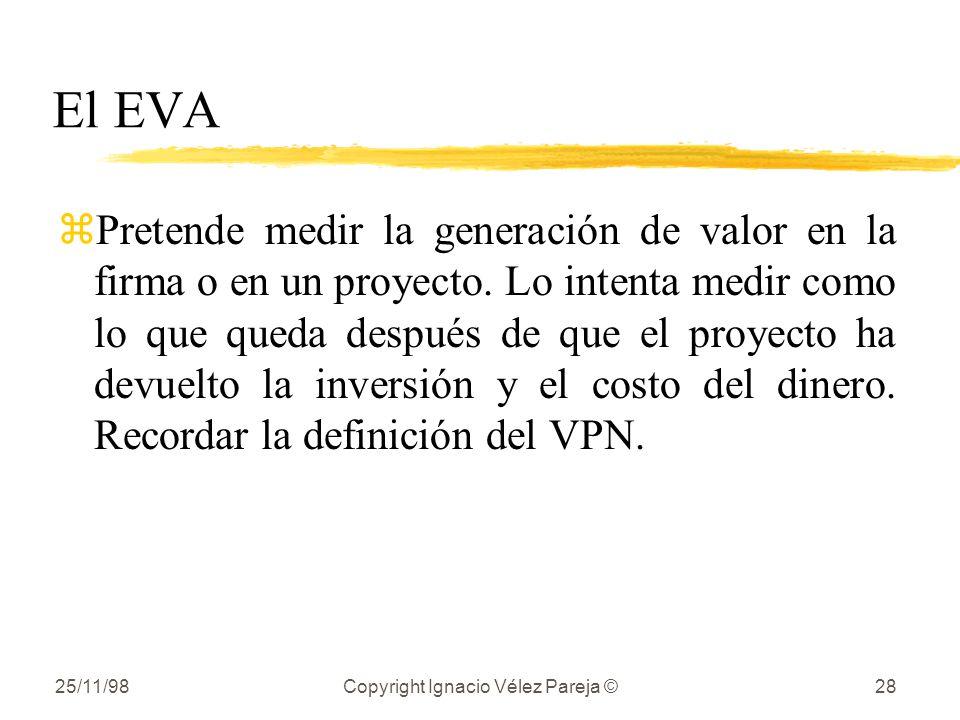 25/11/98Copyright Ignacio Vélez Pareja ©28 El EVA zPretende medir la generación de valor en la firma o en un proyecto. Lo intenta medir como lo que qu