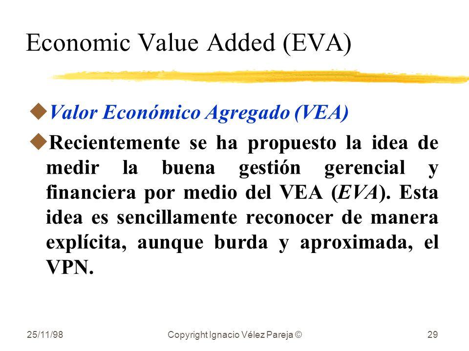 25/11/98Copyright Ignacio Vélez Pareja ©29 Economic Value Added (EVA) uValor Económico Agregado (VEA) uRecientemente se ha propuesto la idea de medir la buena gestión gerencial y financiera por medio del VEA (EVA).