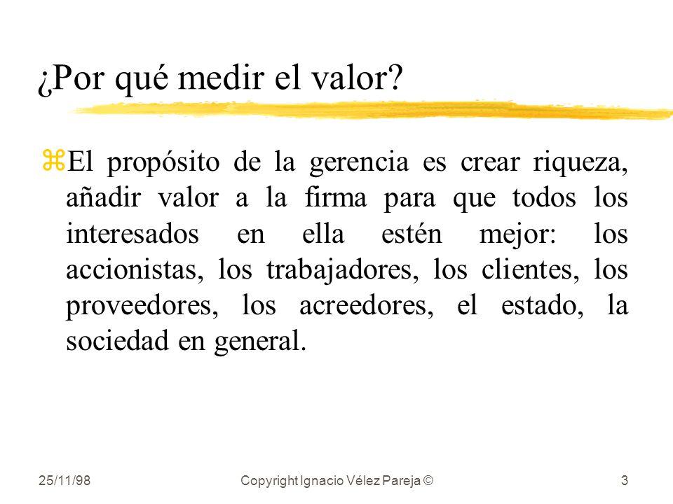 25/11/98Copyright Ignacio Vélez Pareja ©3 ¿Por qué medir el valor? zEl propósito de la gerencia es crear riqueza, añadir valor a la firma para que tod