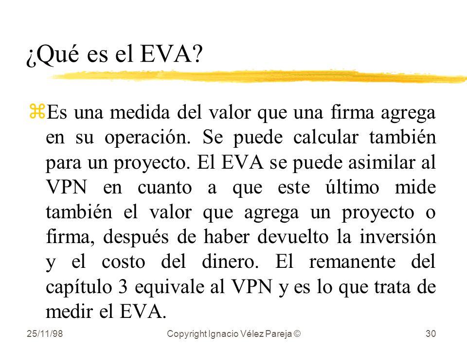 25/11/98Copyright Ignacio Vélez Pareja ©30 ¿Qué es el EVA? zEs una medida del valor que una firma agrega en su operación. Se puede calcular también pa