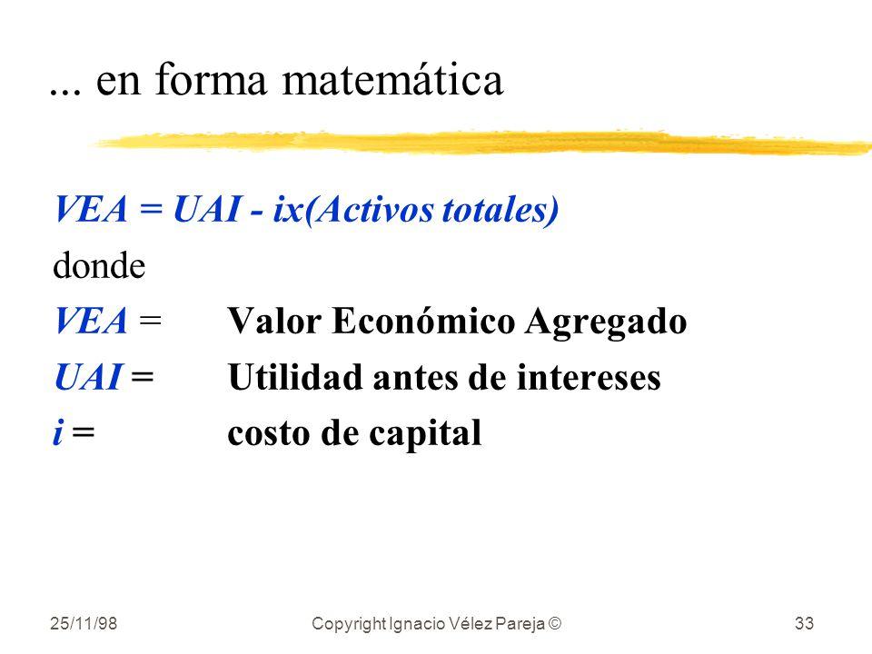 25/11/98Copyright Ignacio Vélez Pareja ©33... en forma matemática VEA = UAI - ix(Activos totales) donde VEA =Valor Económico Agregado UAI =Utilidad an