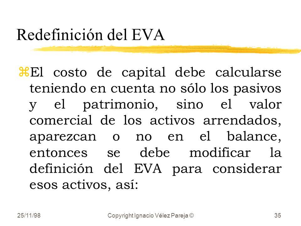 25/11/98Copyright Ignacio Vélez Pareja ©35 Redefinición del EVA zEl costo de capital debe calcularse teniendo en cuenta no sólo los pasivos y el patrimonio, sino el valor comercial de los activos arrendados, aparezcan o no en el balance, entonces se debe modificar la definición del EVA para considerar esos activos, así: