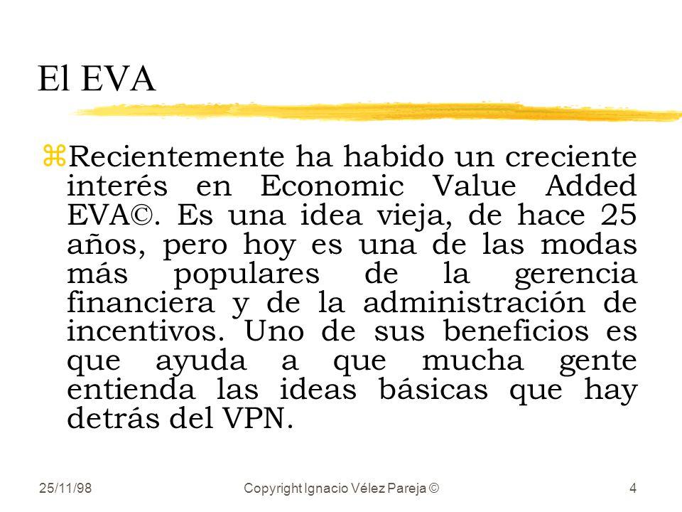 25/11/98Copyright Ignacio Vélez Pareja ©4 El EVA zRecientemente ha habido un creciente interés en Economic Value Added EVA©. Es una idea vieja, de hac
