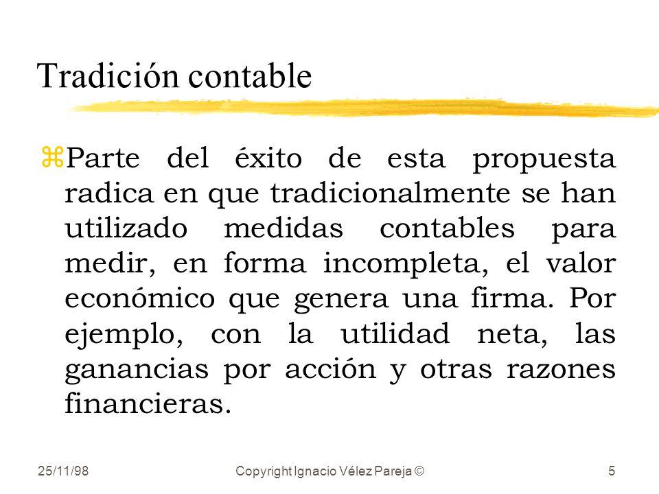 25/11/98Copyright Ignacio Vélez Pareja ©5 Tradición contable zParte del éxito de esta propuesta radica en que tradicionalmente se han utilizado medidas contables para medir, en forma incompleta, el valor económico que genera una firma.