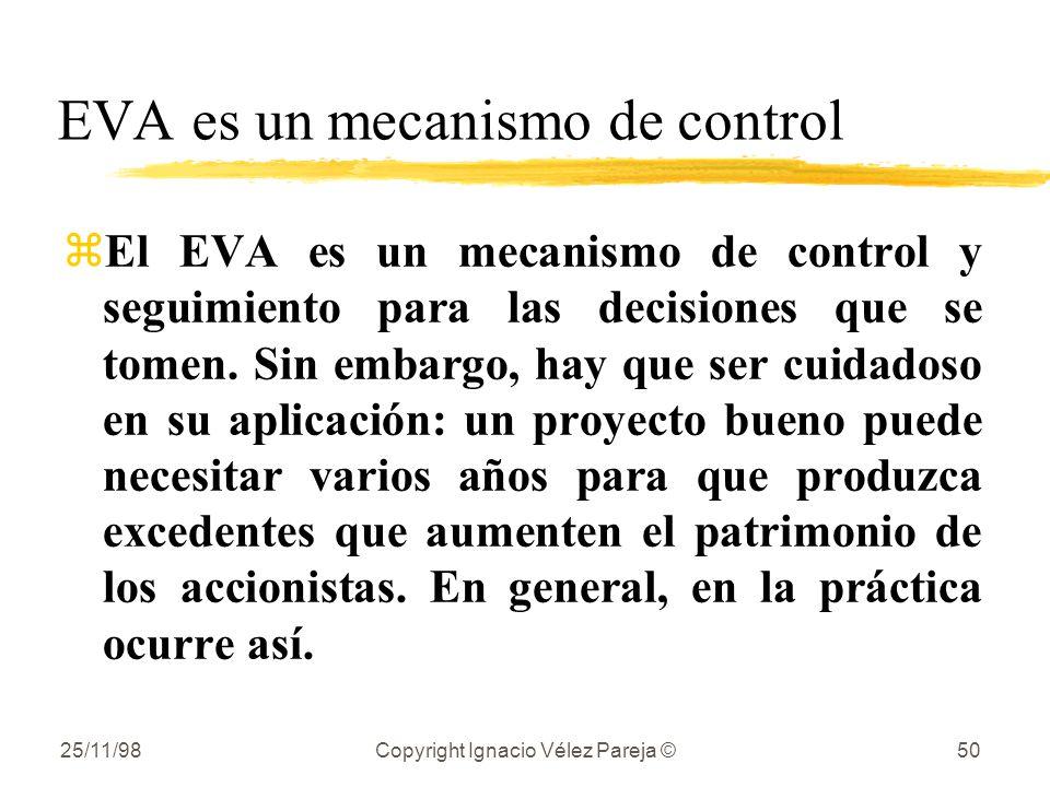 25/11/98Copyright Ignacio Vélez Pareja ©50 EVA es un mecanismo de control zEl EVA es un mecanismo de control y seguimiento para las decisiones que se