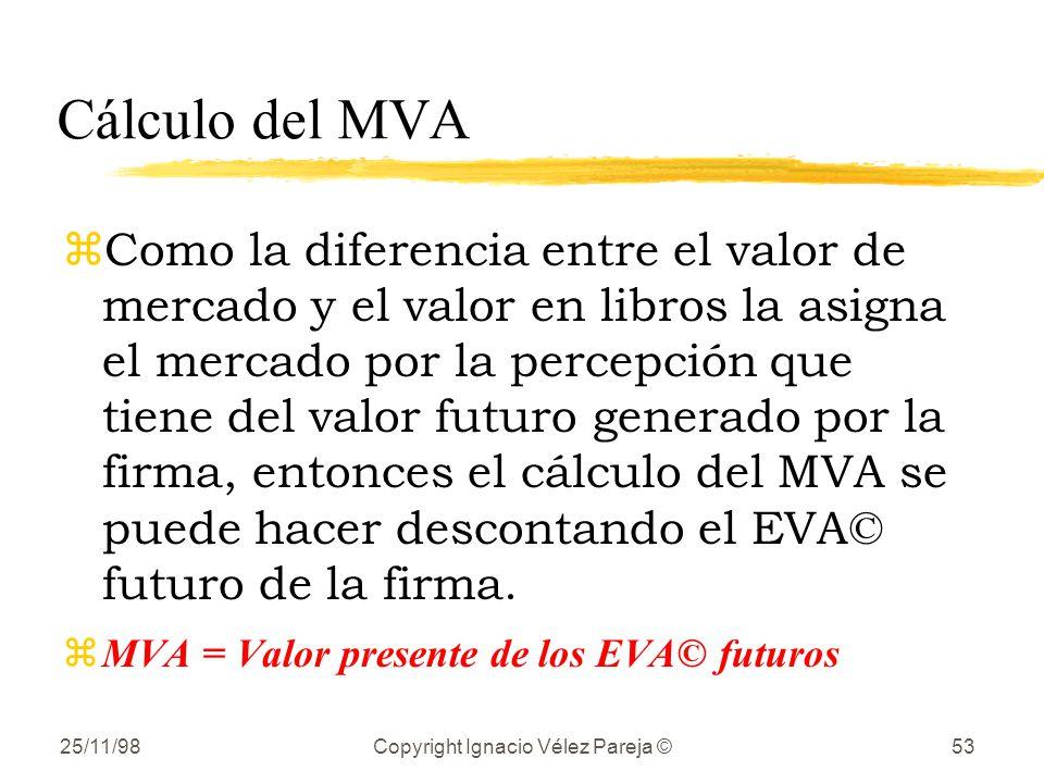 25/11/98Copyright Ignacio Vélez Pareja ©53 Cálculo del MVA zComo la diferencia entre el valor de mercado y el valor en libros la asigna el mercado por la percepción que tiene del valor futuro generado por la firma, entonces el cálculo del MVA se puede hacer descontando el EVA© futuro de la firma.