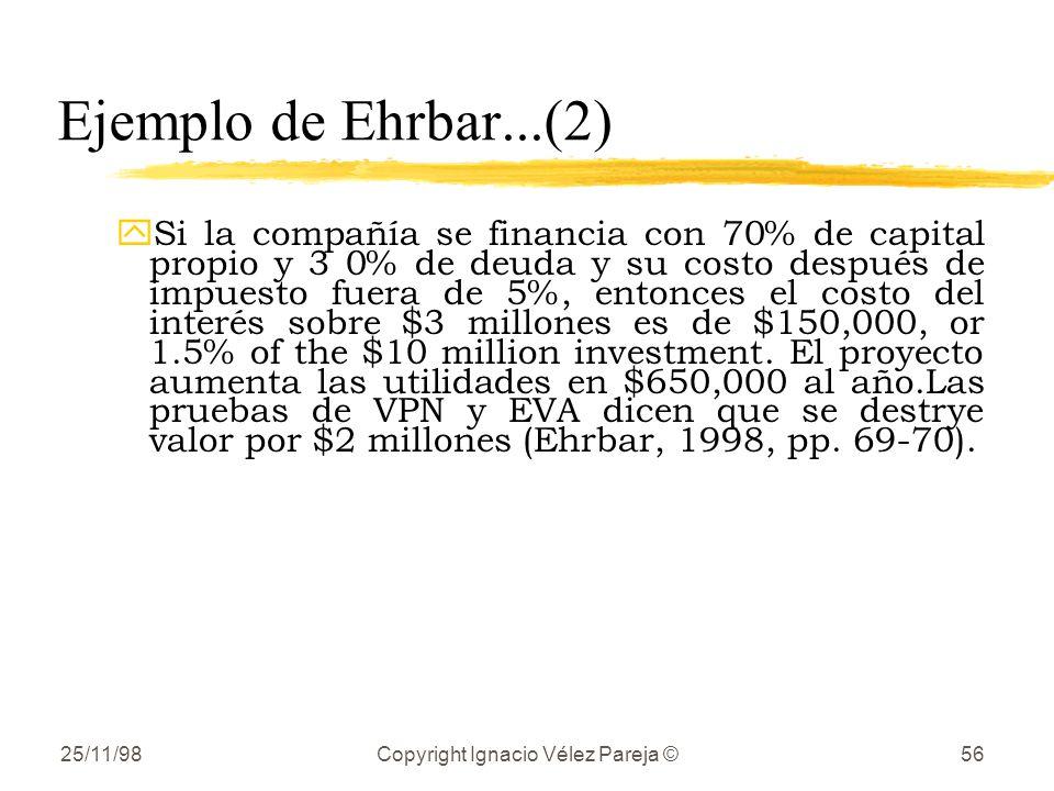 25/11/98Copyright Ignacio Vélez Pareja ©56 Ejemplo de Ehrbar...(2) ySi la compañía se financia con 70% de capital propio y 3 0% de deuda y su costo después de impuesto fuera de 5%, entonces el costo del interés sobre $3 millones es de $150,000, or 1.5% of the $10 million investment.