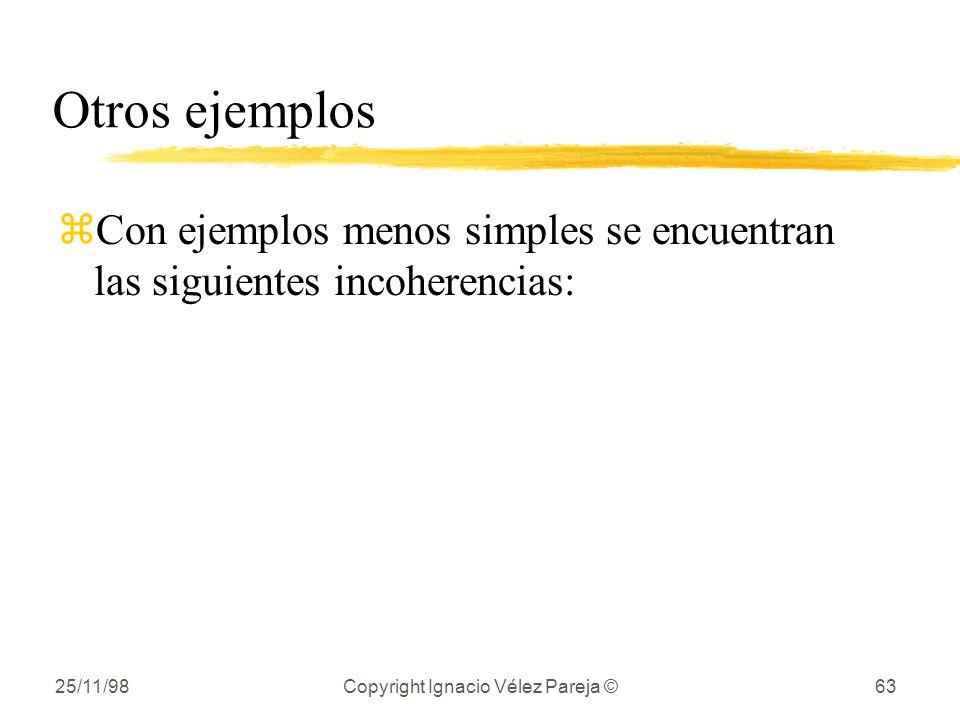 25/11/98Copyright Ignacio Vélez Pareja ©63 Otros ejemplos zCon ejemplos menos simples se encuentran las siguientes incoherencias: