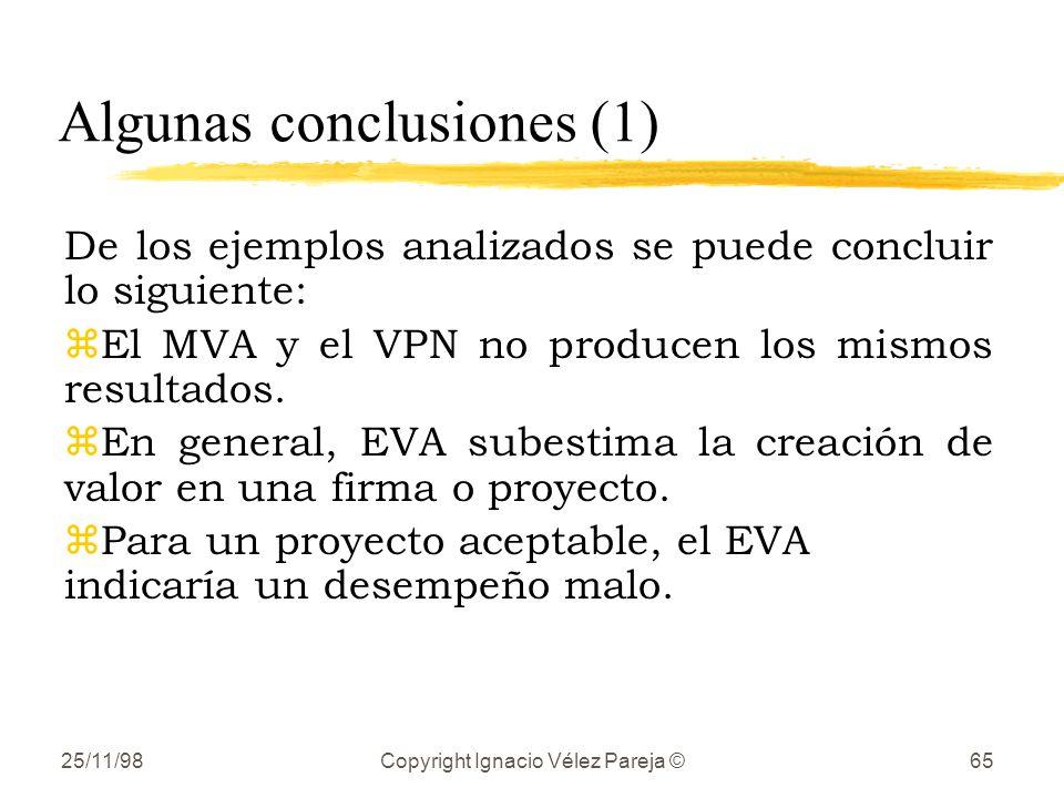 25/11/98Copyright Ignacio Vélez Pareja ©65 Algunas conclusiones (1) De los ejemplos analizados se puede concluir lo siguiente: zEl MVA y el VPN no producen los mismos resultados.