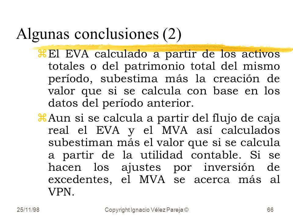 25/11/98Copyright Ignacio Vélez Pareja ©66 Algunas conclusiones (2) zEl EVA calculado a partir de los activos totales o del patrimonio total del mismo período, subestima más la creación de valor que si se calcula con base en los datos del período anterior.