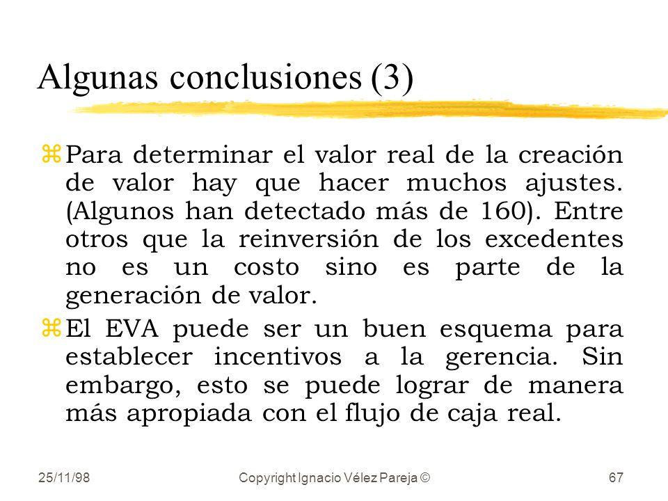 25/11/98Copyright Ignacio Vélez Pareja ©67 Algunas conclusiones (3) zPara determinar el valor real de la creación de valor hay que hacer muchos ajuste