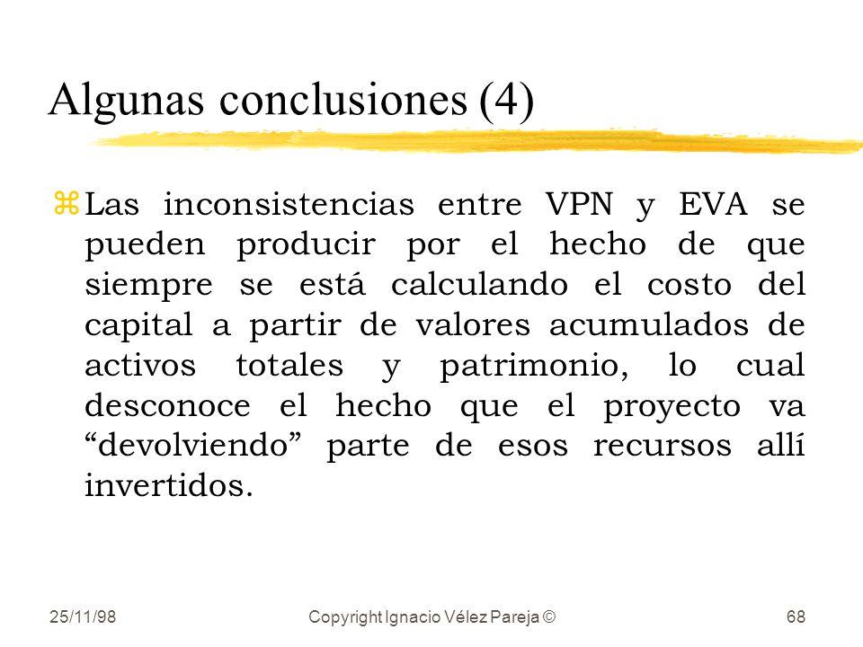 25/11/98Copyright Ignacio Vélez Pareja ©68 Algunas conclusiones (4) zLas inconsistencias entre VPN y EVA se pueden producir por el hecho de que siempr