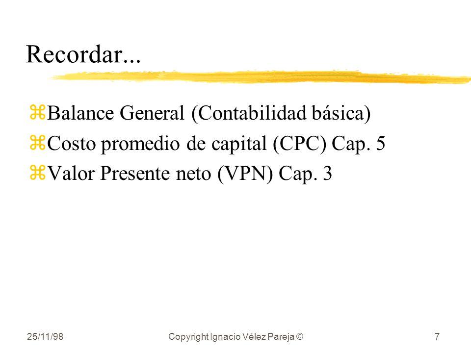 25/11/98Copyright Ignacio Vélez Pareja ©7 Recordar... zBalance General (Contabilidad básica) zCosto promedio de capital (CPC) Cap. 5 zValor Presente n
