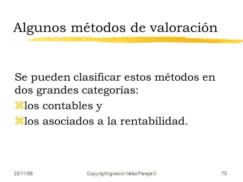 25/11/98Copyright Ignacio Vélez Pareja ©70 Algunos métodos de valoración Se pueden clasificar estos métodos en dos grandes categorías: zlos contables y zlos asociados a la rentabilidad.