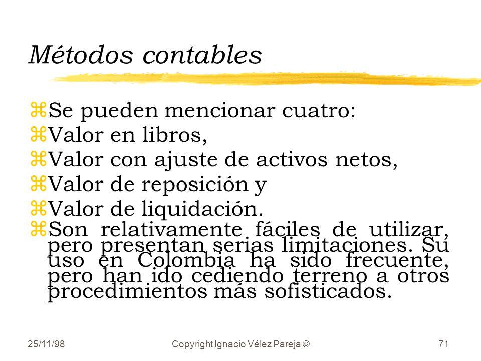 25/11/98Copyright Ignacio Vélez Pareja ©71 Métodos contables zSe pueden mencionar cuatro: zValor en libros, zValor con ajuste de activos netos, zValor de reposición y zValor de liquidación.