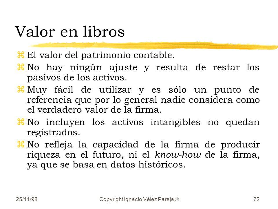 25/11/98Copyright Ignacio Vélez Pareja ©72 Valor en libros zEl valor del patrimonio contable. zNo hay ningún ajuste y resulta de restar los pasivos de
