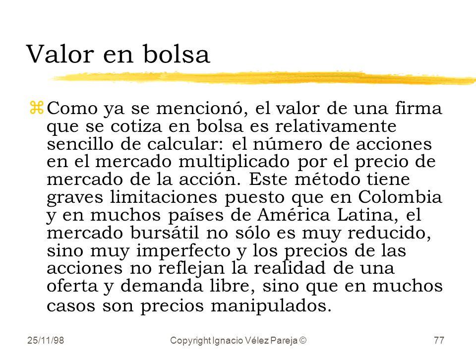 25/11/98Copyright Ignacio Vélez Pareja ©77 Valor en bolsa zComo ya se mencionó, el valor de una firma que se cotiza en bolsa es relativamente sencillo