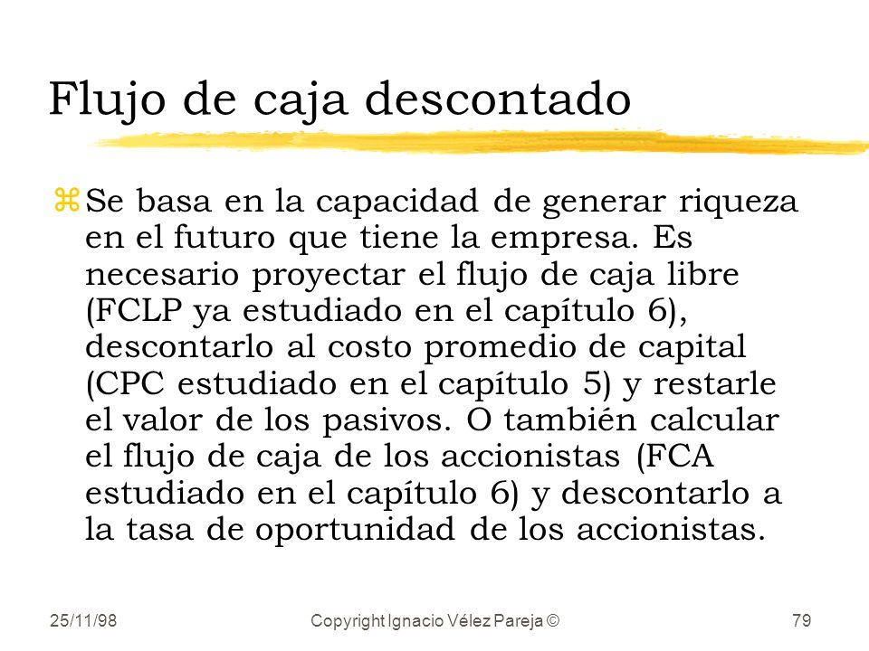 25/11/98Copyright Ignacio Vélez Pareja ©79 Flujo de caja descontado zSe basa en la capacidad de generar riqueza en el futuro que tiene la empresa.